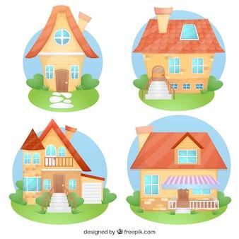 Assortiment van cartoon huizen
