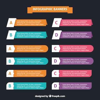 Assortiment van fantastische infographic banners in plat design