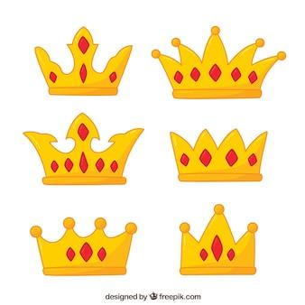 Assortiment van handgetekende kronen met rode edelstenen