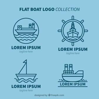 Assortiment van platte boot logos