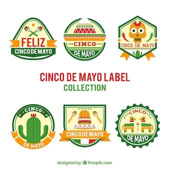 Assortiment van zes cinco de mayo stickers met oranje gegevens