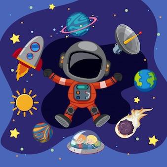 Astronaut en ruimteschip in de ruimte