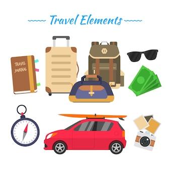 Auto achtergrond met reiselementen