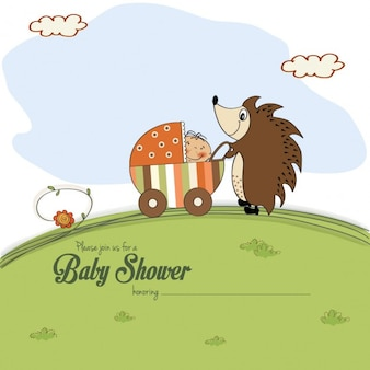 Baby shower kaart met een egel die een kinderwagen duwt met baby