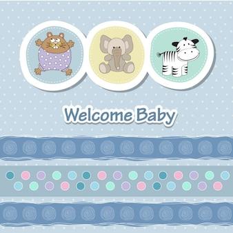 Baby shower kaart met grappige dieren