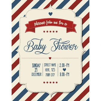 Baby shower uitnodiging in retro-stijl vector-formaat