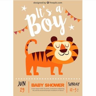 Baby shower uitnodiging met een lachend tijger
