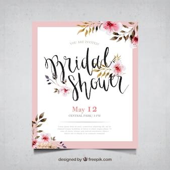 Bachelorette kaart met aquarel bloemen