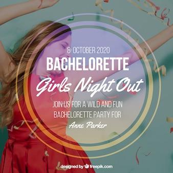 Bachelorette party sjabloon met een rond frame