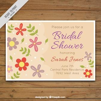 Bachelorette uitnodiging met decoratieve bloemen