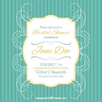 Bachelorette uitnodiging met gouden frame en abstracte decoratie