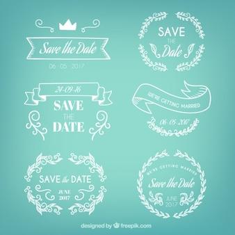 Badges set van de hand getekende bruiloft