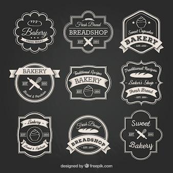 Bakkerij badge collectie in retro stijl