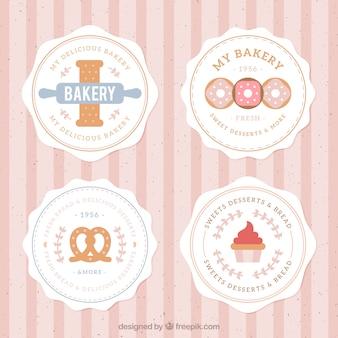 Bakkerij badges, vlakke stijl