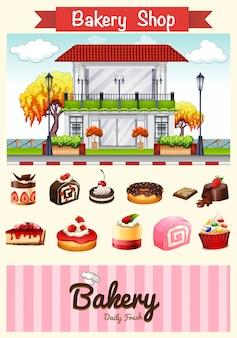 Bakkerij winkel en desserts illustratie