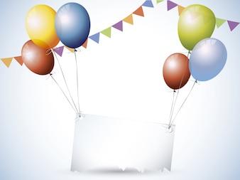 Ballons en verjaardags decoraties achtergrond