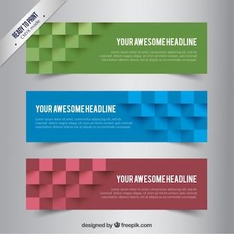 Banners met abstracte kubussen