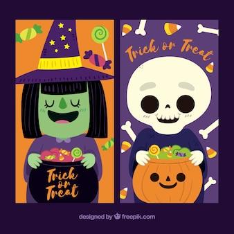 Banners met mooie Halloween karakters