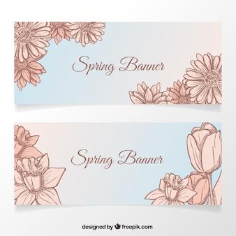 Banners van de lente met de hand getekende bloemen