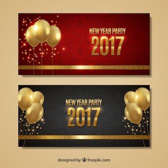 Banners van de partij van het nieuwe jaar met gouden ballonnen