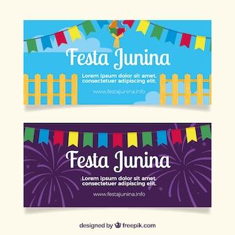Banners van kleuren festa junina