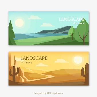 Banners van prachtige landschappen