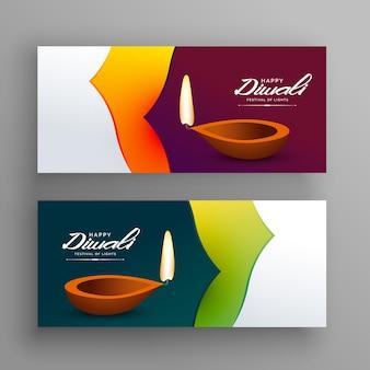 Banners voor diwali indian festival greeting