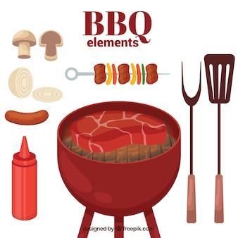 Barbecue elementen pakken