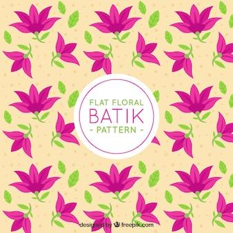 Batik patroon van bloemen en bladeren
