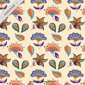 Batik patroon van de hand getekende bloemen en bladeren