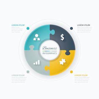 Bedrijfs infografische vectorelementen. Cirkel met puzzelstukconcept en pictogrammen.