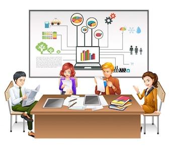 Bedrijfs mensen die aan de tafel illustratie