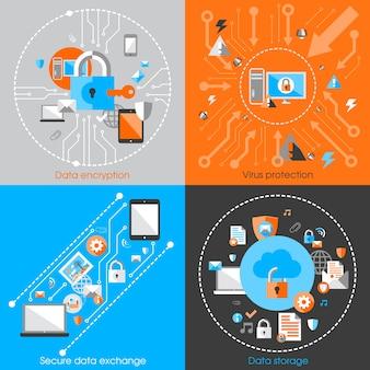 Bedrijfsgegevens bescherming technologie en cloud netwerk beveiligings concept infographic design elementen vector illustratie
