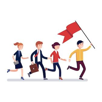 Bedrijfsleider die de weg naar zijn collega's leidt