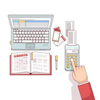 Bedrijfsman planning en berekening van zijn uitgaven