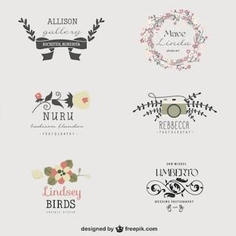 Beeldend kunstenaar bloemen logo templates