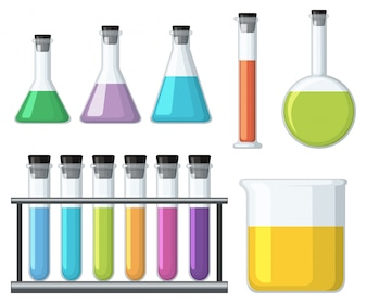 Bekers met kleurrijke vloeistof