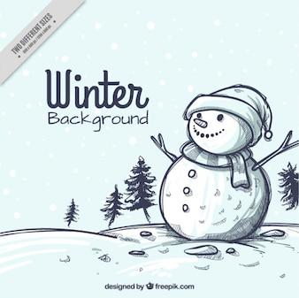 Besneeuwde landschap kerst schets achtergrond met sneeuwpop