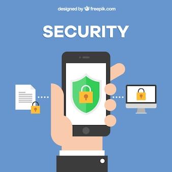 Beveiligingsachtergrond met hand en mobiele telefoon in vlakke vormgeving