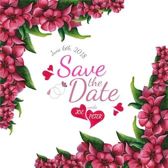 Bewaar de datum met bloemenontwerp