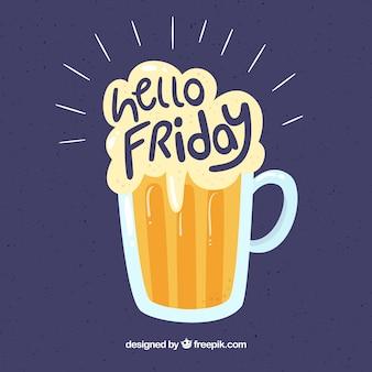 """Bier achtergrond en tekst """"hallo vrijdag"""""""