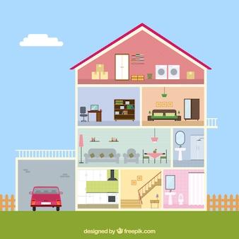 Binnenlandse mening van huis met garage