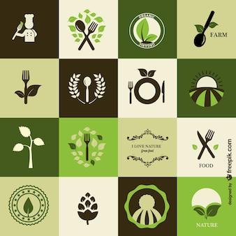 Biologisch koken iconen gratis