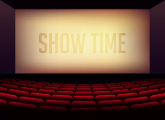 Bioscoop of theaterzaal voor filmposter-posterontwerp met stoelen in de kamer