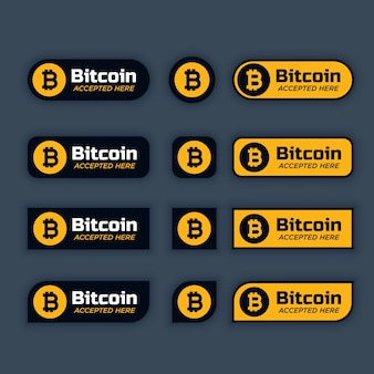 Bitcoins cryptocurrency knoppen of labels set