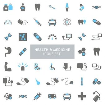 Black and Blue Health iconen Set