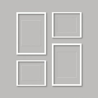 Blanco beeld sjabloon set geïsoleerd op muur