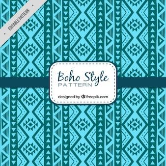 Blauw boho patroon met geometrische decoratie