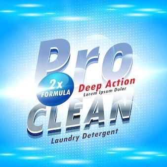 Blauw detergent reclame concept voor het wassen en schoonmaken