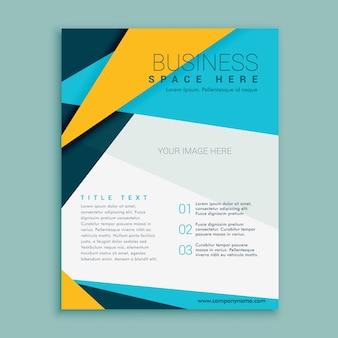Blauw en geel geometrisch folder van de brochurevliegerontwerp